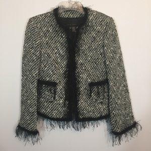 Zara Woman Black Fringe Tweed Jacket Blazer